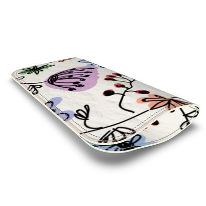 Wild flowers - Leather Glasses Case - floral, large scale, hand drawing, colored spots, graphical, artistic, botanical, blossom, blooming plants, summer gift - design by Tiana Lofd