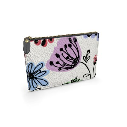 Wild flowers - Leather pouch - floral, large scale, hand drawing, colored spots, graphical, artistic, botanical, blossom, blooming plants, summer gift - design by Tiana Lofd
