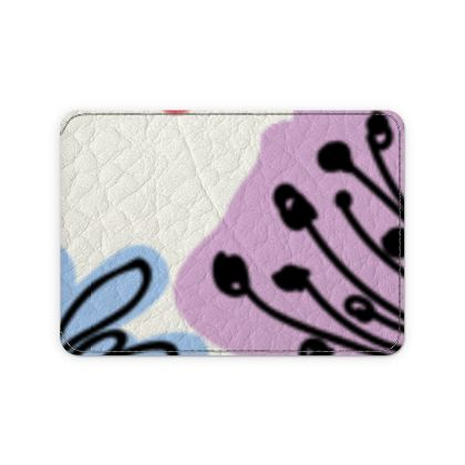 Wild flowers - Leather Card Case - floral, large scale, hand drawing, colored spots, graphical, artistic, botanical, blossom, blooming plants, summer gift - design by Tiana Lofd