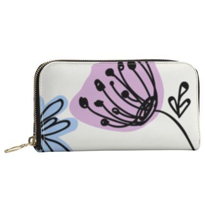 Wild flowers - Leather Zip Purse - floral, large scale, hand drawing, colored spots, graphical, artistic, botanical, blossom, blooming plants, summer gift - design by Tiana Lofd