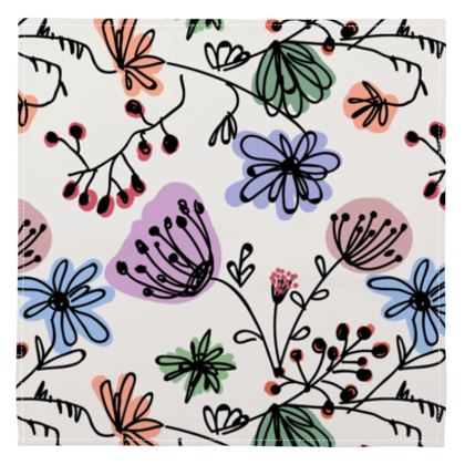 Wild flowers - Napkins - floral, large scale, hand drawing, colored spots, graphical, artistic, botanical, blossom, blooming plants, summer gift - design by Tiana Lofd