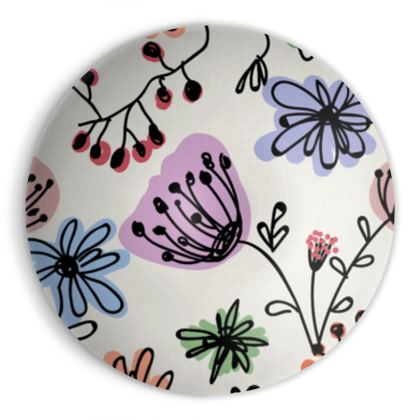 Wild flowers - Ornamental Bowl - floral, large scale, hand drawing, colored spots, graphical, artistic, botanical, blossom, blooming plants, summer gift - design by Tiana Lofd
