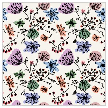 Wild flowers - Fabric Printing - floral, large scale, hand drawing, colored spots, graphical, artistic, botanical, blossom, blooming plants, summer gift - design by Tiana Lofd
