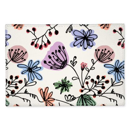 Wild flowers - Fabric Placemats - floral, large scale, hand drawing, colored spots, graphical, artistic, botanical, blossom, blooming plants, summer gift - design by Tiana Lofd