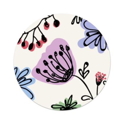 Wild flowers - Serving Platter - floral, large scale, hand drawing, colored spots, graphical, artistic, botanical, blossom, blooming plants, summer gift - design by Tiana Lofd