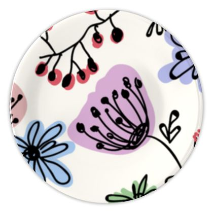 Wild flowers - China Plates - floral, large scale, hand drawing, colored spots, graphical, artistic, botanical, blossom, blooming plants, summer gift - design by Tiana Lofd
