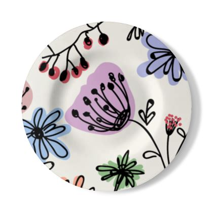 Wild flowers - Decorative Plate - floral, large scale, hand drawing, colored spots, graphical, artistic, botanical, blossom, blooming plants, summer gift - design by Tiana Lofd