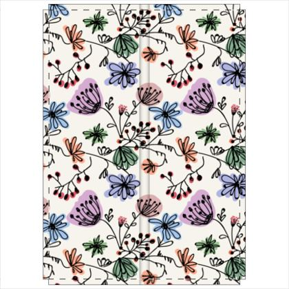 Wild flowers - Folding Screen - floral, large scale, hand drawing, colored spots, graphical, artistic, botanical, blossom, blooming plants, summer gift - design by Tiana Lofd