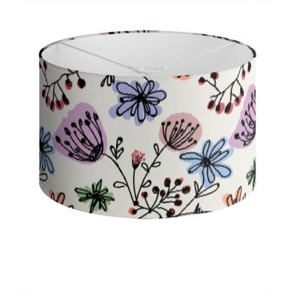 Wild flowers - Drum Lamp Shade - floral, large scale, hand drawing, colored spots, graphical, artistic, botanical, blossom, blooming plants, summer gift - design by Tiana Lofd