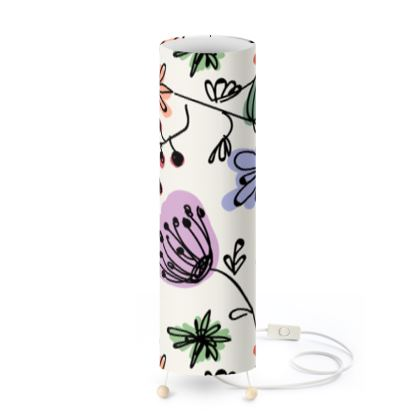 Wild flowers - Standing Lamp - floral, large scale, hand drawing, colored spots, graphical, artistic, botanical, blossom, blooming plants, summer gift - design by Tiana Lofd