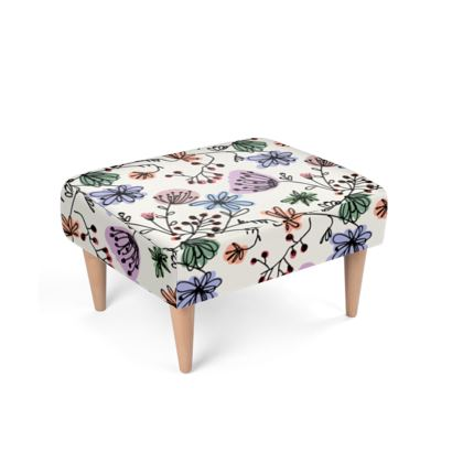 Wild flowers - Footstool - floral, large scale, hand drawing, colored spots, graphical, artistic, botanical, blossom, blooming plants, summer gift - design by Tiana Lofd