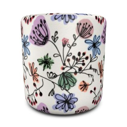 Wild flowers - Round Pouffe - floral, large scale, hand drawing, colored spots, graphical, artistic, botanical, blossom, blooming plants, summer gift - design by Tiana Lofd
