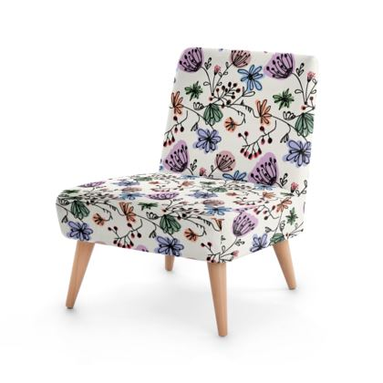 Wild flowers - Occasional Chair - floral, large scale, hand drawing, colored spots, graphical, artistic, botanical, blossom, blooming plants, summer gift - design by Tiana Lofd