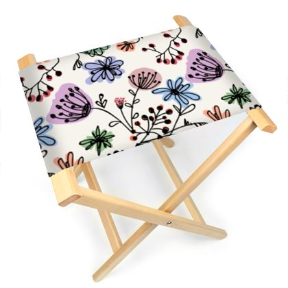Wild flowers - Folding Stool Chair - floral, large scale, hand drawing, colored spots, graphical, artistic, botanical, blossom, blooming plants, summer gift - design by Tiana Lofd