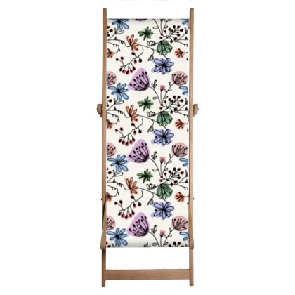 Wild flowers - Deckchair - floral, large scale, hand drawing, colored spots, graphical, artistic, botanical, blossom, blooming plants, summer gift - design by Tiana Lofd
