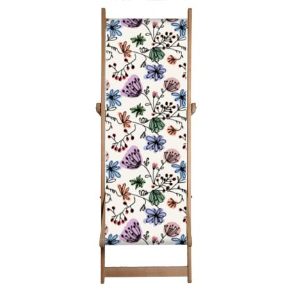 Wild flowers - Deckchair Sling - floral, large scale, hand drawing, colored spots, graphical, artistic, botanical, blossom, blooming plants, summer gift - design by Tiana Lofd