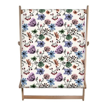 Wild flowers - Double Deckchair - floral, large scale, hand drawing, colored spots, graphical, artistic, botanical, blossom, blooming plants, summer gift - design by Tiana Lofd
