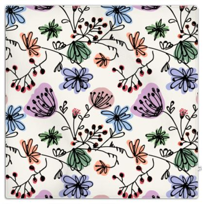 Wild flowers - Picnic Blanket - floral, large scale, hand drawing, colored spots, graphical, artistic, botanical, blossom, blooming plants, summer gift - design by Tiana Lofd