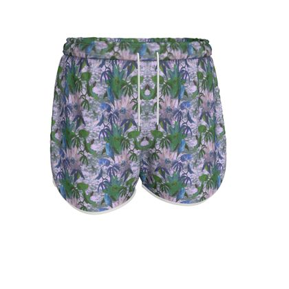 Womens Running Shorts Mauve, Green, Floral  Passionflower  Tuscany