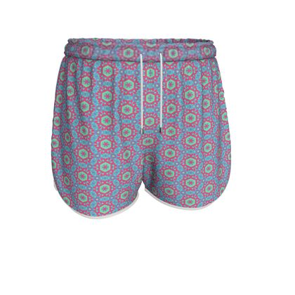 Womens Running Shorts Blue, Red, Geometric  Geometric Florals  Tooth Fairy