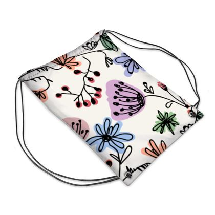 Wild flowers - Drawstring PE Bag - floral, large scale, hand drawing, colored spots, graphical, artistic, botanical, blossom, blooming plants, summer gift - design by Tiana Lofd