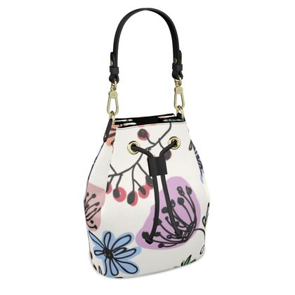 Wild flowers - Bucket Bag - floral, large scale, hand drawing, colored spots, graphical, artistic, botanical, blossom, blooming plants, summer gift - design by Tiana Lofd