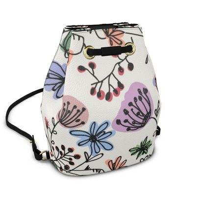 Wild flowers - Bucket Backpack - floral, large scale, hand drawing, colored spots, graphical, artistic, botanical, blossom, blooming plants, summer gift - design by Tiana Lofd