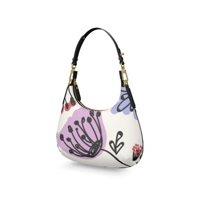 Wild flowers - Mini Curve Bag - floral, large scale, hand drawing, colored spots, graphical, artistic, botanical, blossom, blooming plants, summer gift - design by Tiana Lofd