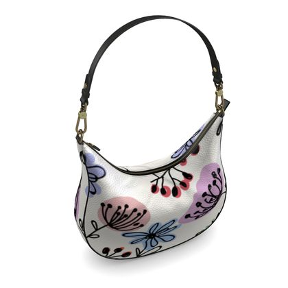 Wild flowers - Curve Hobo Bag - floral, large scale, hand drawing, colored spots, graphical, artistic, botanical, blossom, blooming plants, summer gift - design by Tiana Lofd