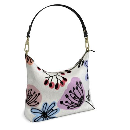 Wild flowers - Square Hobo Bag - floral, large scale, hand drawing, colored spots, graphical, artistic, botanical, blossom, blooming plants, summer gift - design by Tiana Lofd