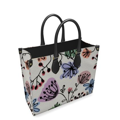 Wild flowers - Leather Shopper Bag - floral, large scale, hand drawing, colored spots, graphical, artistic, botanical, blossom, blooming plants, summer gift - design by Tiana Lofd