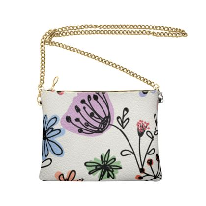 Wild flowers - Crossbody Bag With Chain - floral, large scale, hand drawing, colored spots, graphical, artistic, botanical, blossom, blooming plants, summer gift - design by Tiana Lofd
