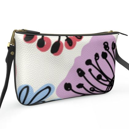 Wild flowers - Pochette Double Zip Bag - floral, large scale, hand drawing, colored spots, graphical, artistic, botanical, blossom, blooming plants, summer gift - design by Tiana Lofd