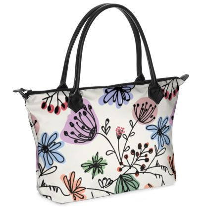 Wild flowers - Zip Top Handbag - floral, large scale, hand drawing, colored spots, graphical, artistic, botanical, blossom, blooming plants, summer gift - design by Tiana Lofd