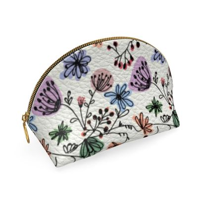 Wild flowers - Shell Coin Purse - floral, large scale, hand drawing, colored spots, graphical, artistic, botanical, blossom, blooming plants, summer gift - design by Tiana Lofd