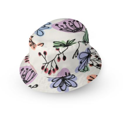 Wild flowers - Bucket Hat - floral, large scale, hand drawing, colored spots, graphical, artistic, botanical, blossom, blooming plants, summer gift - design by Tiana Lofd