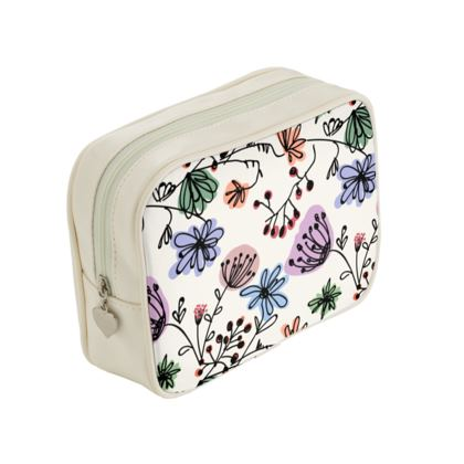Wild flowers - Make Up Bags - floral, large scale, hand drawing, colored spots, graphical, artistic, botanical, blossom, blooming plants, summer gift - design by Tiana Lofd