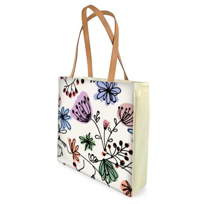 Wild flowers - Shopper Bags - floral, large scale, hand drawing, colored spots, graphical, artistic, botanical, blossom, blooming plants, summer gift - design by Tiana Lofd