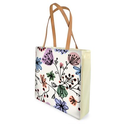 Wild flowers - Beach Bag - floral, large scale, hand drawing, colored spots, graphical, artistic, botanical, blossom, blooming plants, summer gift - design by Tiana Lofd