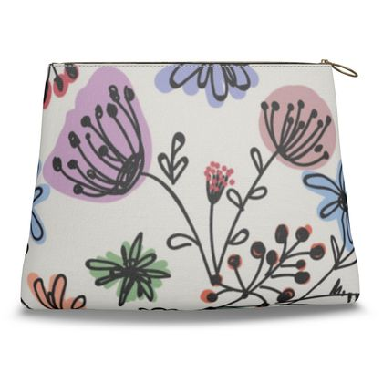 Wild flowers - Clutch Bag - floral, large scale, hand drawing, colored spots, graphical, artistic, botanical, blossom, blooming plants, summer gift - design by Tiana Lofd