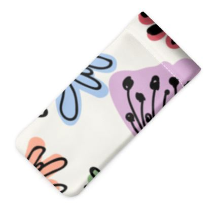 Wild flowers - Glasses Case Pouch - floral, large scale, hand drawing, colored spots, graphical, artistic, botanical, blossom, blooming plants, summer gift - design by Tiana Lofd