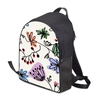 Wild flowers - Backpack - floral, large scale, hand drawing, colored spots, graphical, artistic, botanical, blossom, blooming plants, summer gift - design by Tiana Lofd