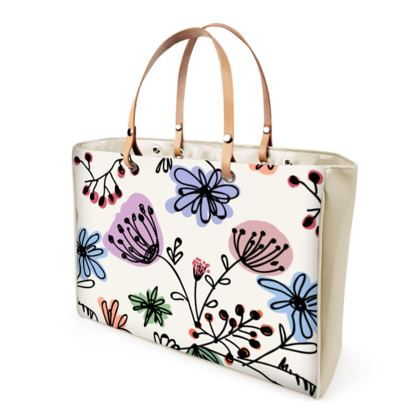 Wild flowers - Handbags - floral, large scale, hand drawing, colored spots, graphical, artistic, botanical, blossom, blooming plants, summer gift - design by Tiana Lofd