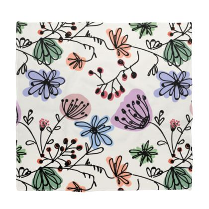 Wild flowers - Bandana - floral, large scale, hand drawing, colored spots, graphical, artistic, botanical, blossom, blooming plants, summer gift - design by Tiana Lofd