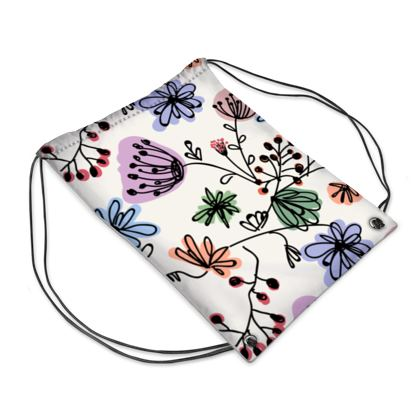 Wild flowers - Swim Bag - floral, large scale, hand drawing, colored spots, graphical, artistic, botanical, blossom, blooming plants, summer gift - design by Tiana Lofd