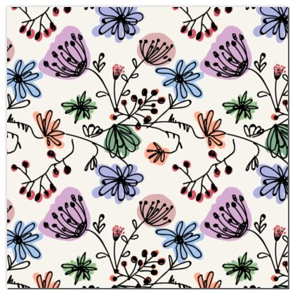 Wild flowers - Playmat - floral, large scale, hand drawing, colored spots, graphical, artistic, botanical, blossom, blooming plants, summer gift - design by Tiana Lofd