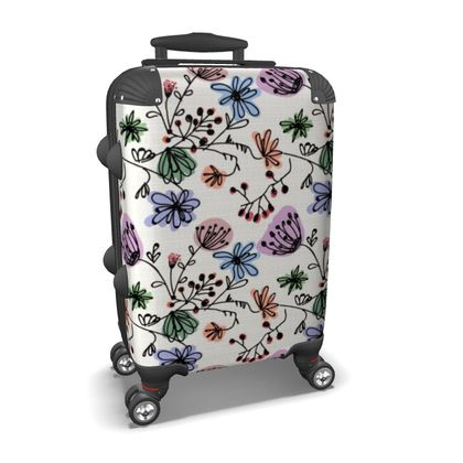 Wild flowers - Suitcase - floral, large scale, hand drawing, colored spots, graphical, artistic, botanical, blossom, blooming plants, summer gift - design by Tiana Lofd