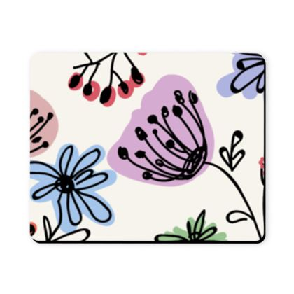 Wild flowers - Mousepad - floral, large scale, hand drawing, colored spots, graphical, artistic, botanical, blossom, blooming plants, summer gift - design by Tiana Lofd