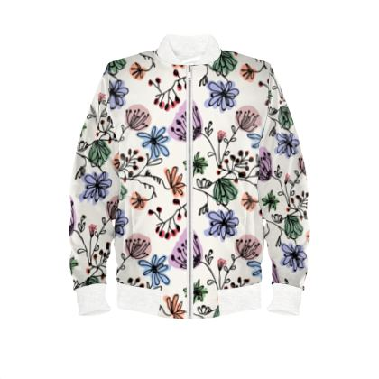 Wild flowers - Ladies Bomber Jacket - floral, large scale, hand drawing, colored spots, graphical, artistic, botanical, blossom, blooming plants, summer gift - design by Tiana Lofd