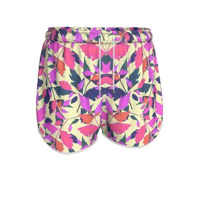 Womens Running Shorts Pink, Cream  Diamond Leaves  Sunset